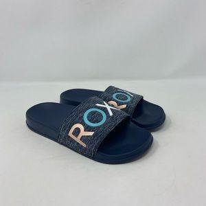 Roxy Navy Fabric Top Comfort Slides Womens Sz 5.5